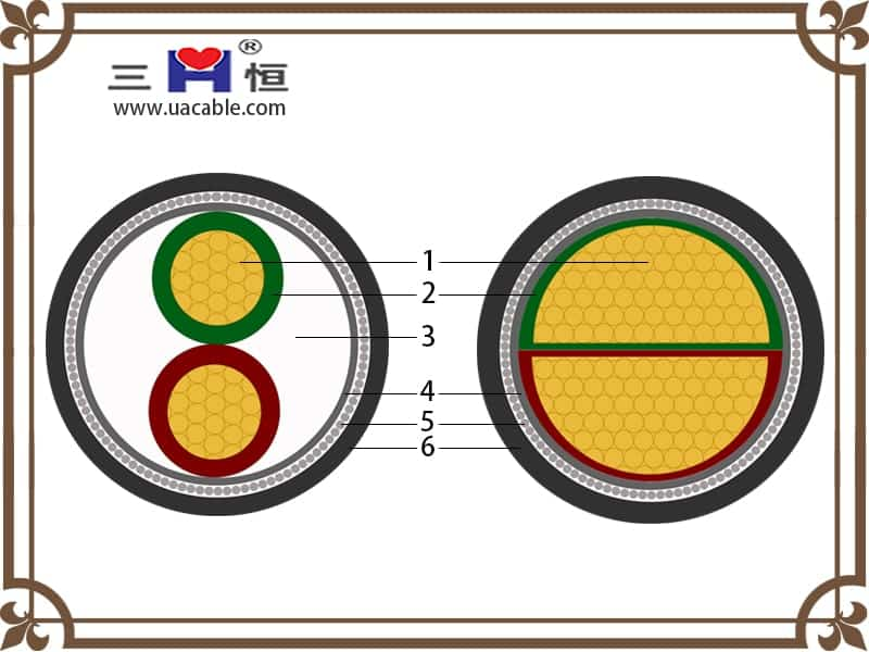 2-core swa armoured cable structure