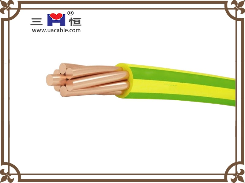 Yellow green single core PVC insulated cable