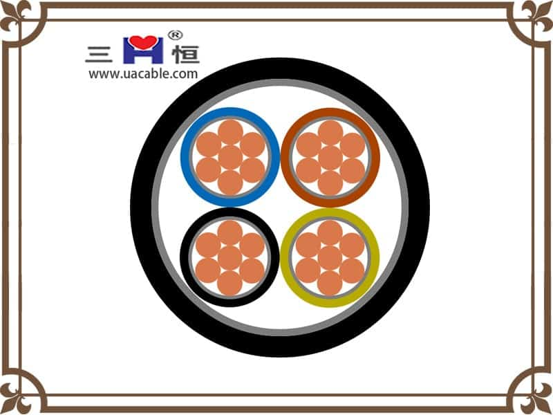 Four core round pvc power cable structure