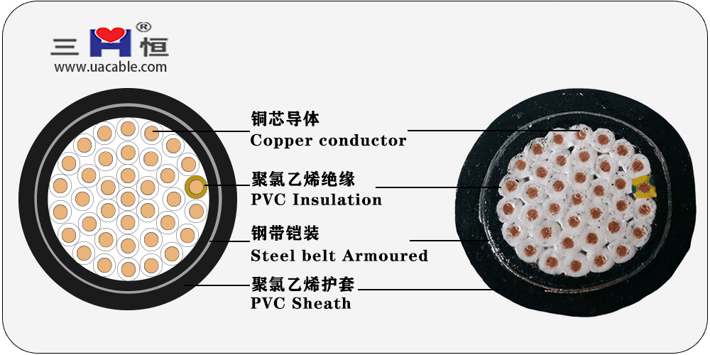 KVV-22 – Copper core PVC insulated and sheathed steel tape armored control cable