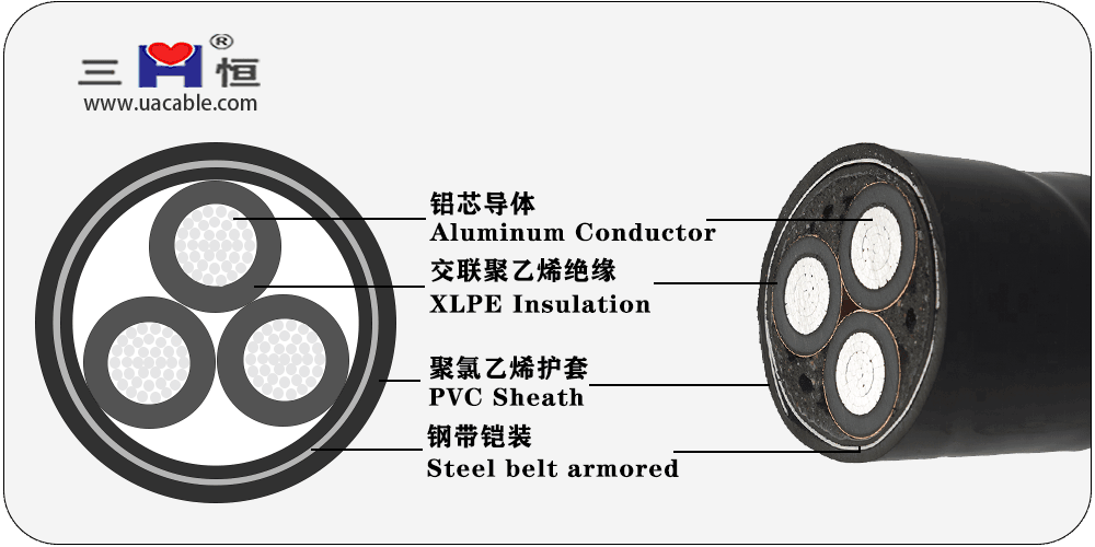 Aluminum core XLPE insulated steel tape armored PVC sheathed power cable