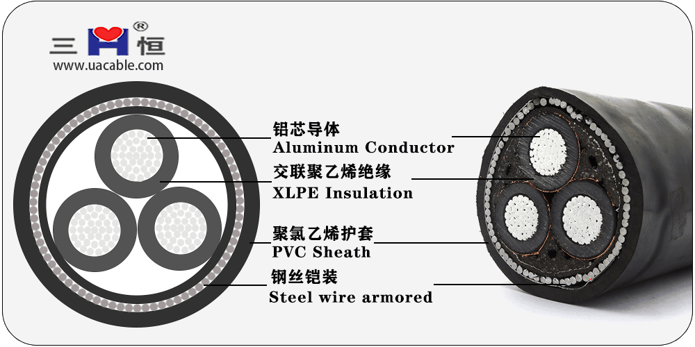 Aluminum core XLPE insulated steel wire armored PVC sheathed power cable